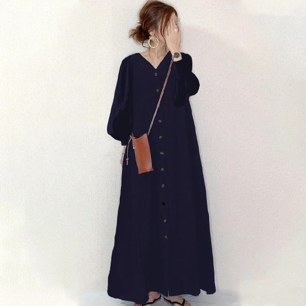 長袖排釦法式洋裝
