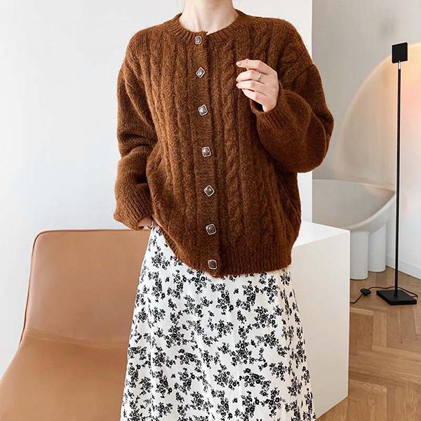 韓版麻花針織外套