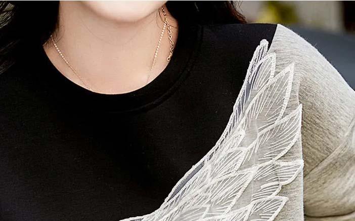 撞色唯美翅膀上衣
