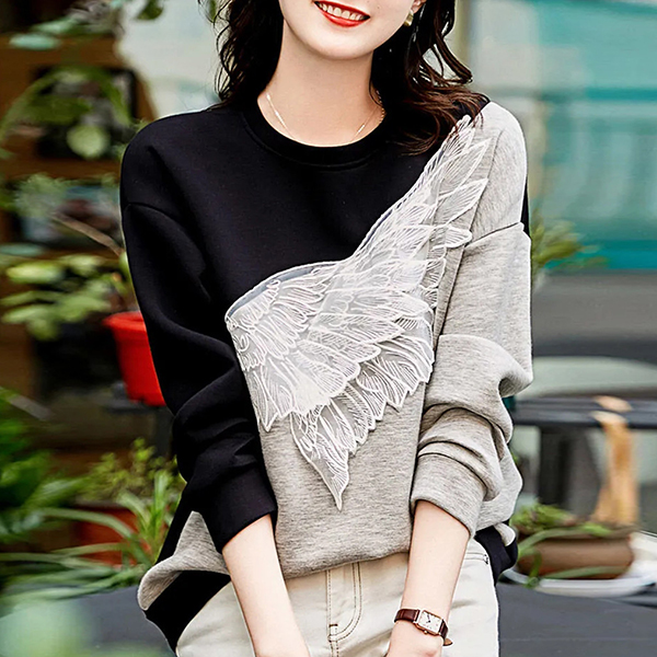 撞色唯美翅膀上衣,時尚,百搭,春天,秋天,冬天