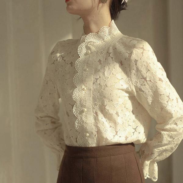 復古喇叭袖蕾絲襯衫,時尚,百搭,春天,秋天,冬天