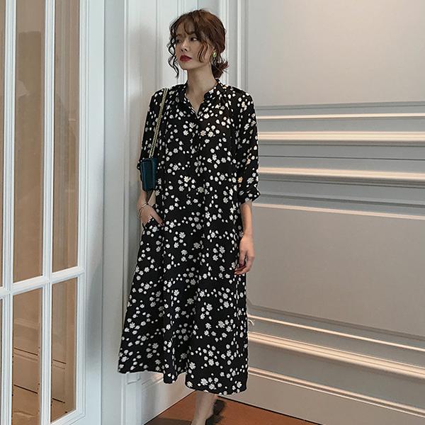 法式氣質小雛菊洋裝,時尚,百搭,春天,秋天,冬天