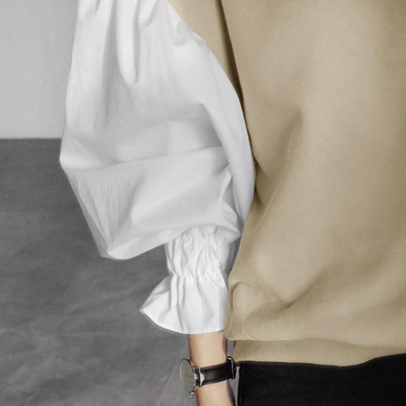 甜美燈籠袖拼接上衣