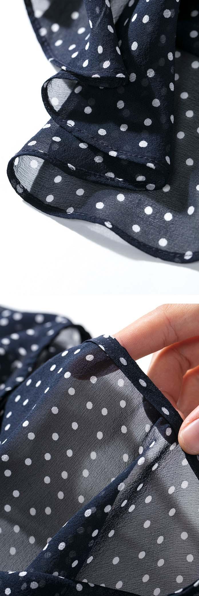 圓領荷葉邊裝飾袖上衣