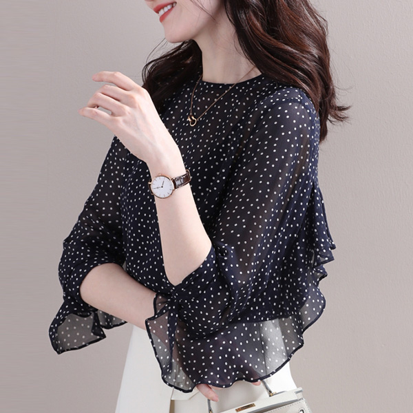 圓領荷葉邊裝飾袖上衣,,evaviva,63-UA06231,圓領荷葉邊裝飾袖上衣,