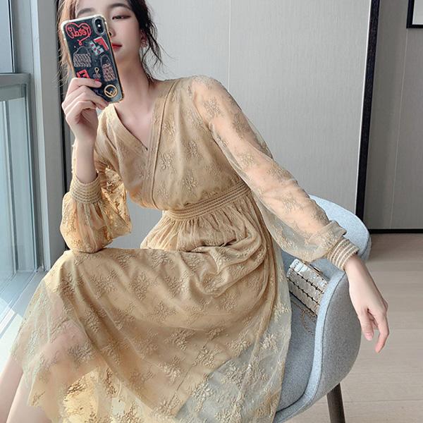 仙氣雪紡蕾絲洋裝