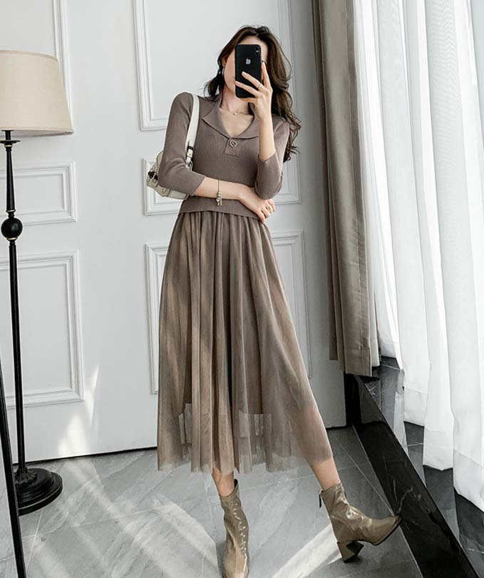 針織拼接網紗洋裝
