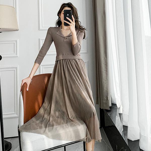 針織拼接網紗洋裝,時尚,百搭,春天,秋天,冬天