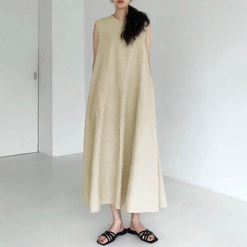 簡約寬鬆長版背心洋裝