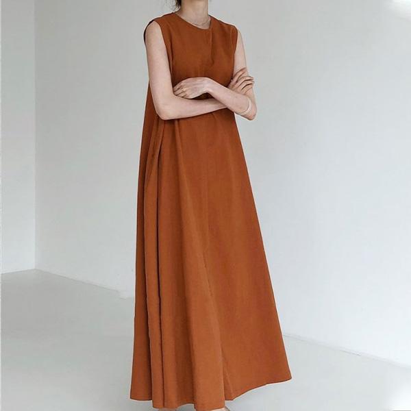 簡約寬鬆長版背心洋裝,百搭,背心,洋裝,素色,簡約