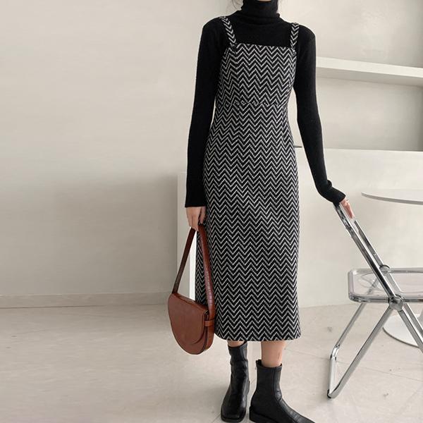 法式毛呢吊帶裙洋裝