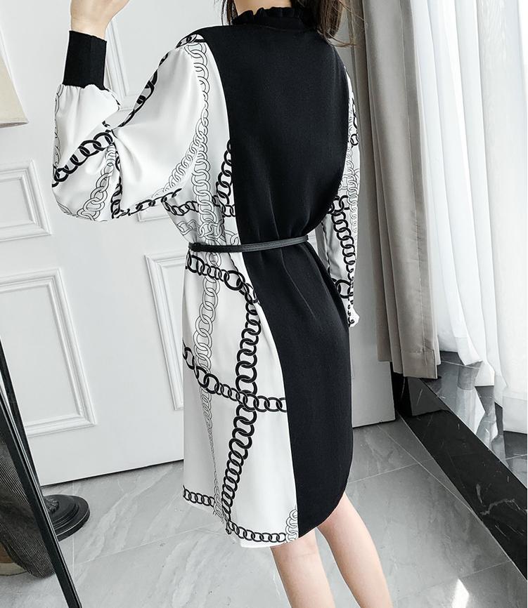 印花雪紡拼接針織洋裝