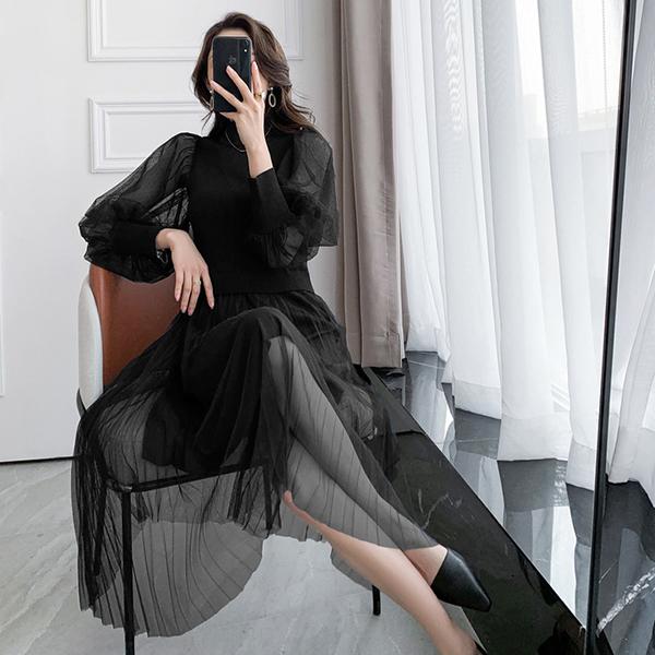 微醺風網紗拼接針織洋裝