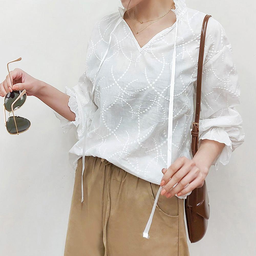 法式甜美緹花襯衫,,JEANSWE,3G-UA06468,法式甜美緹花襯衫,