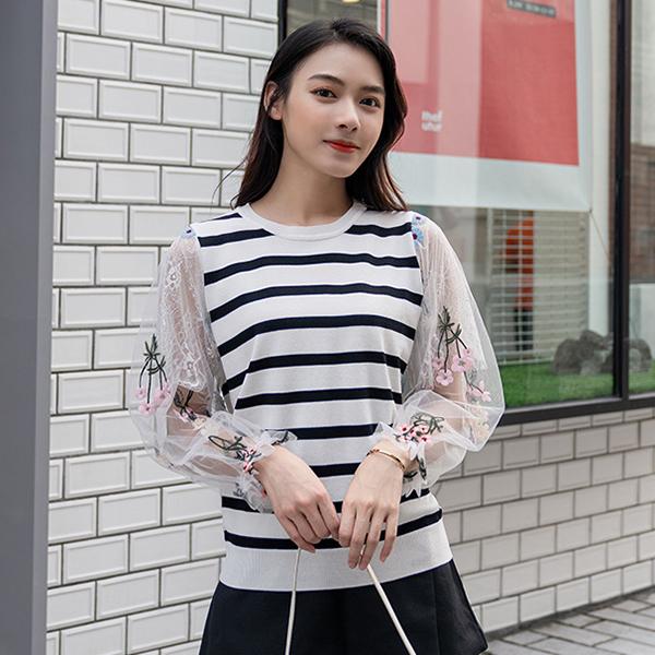 雪紡蕾絲拼接刺繡針織上衣,時尚,百搭,春天,夏天,秋天