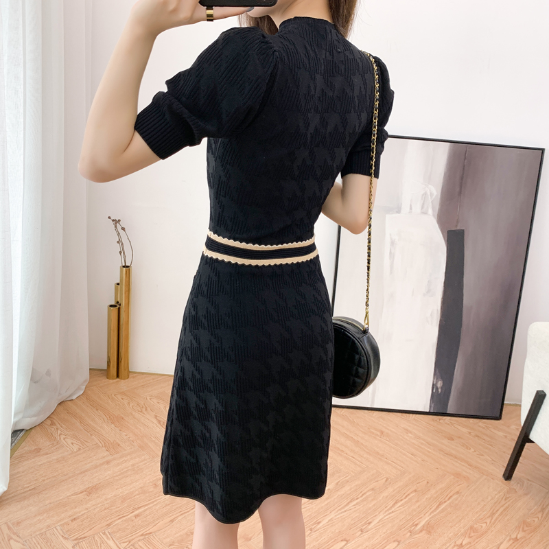 低調奢華暗紋千鳥格洋裝