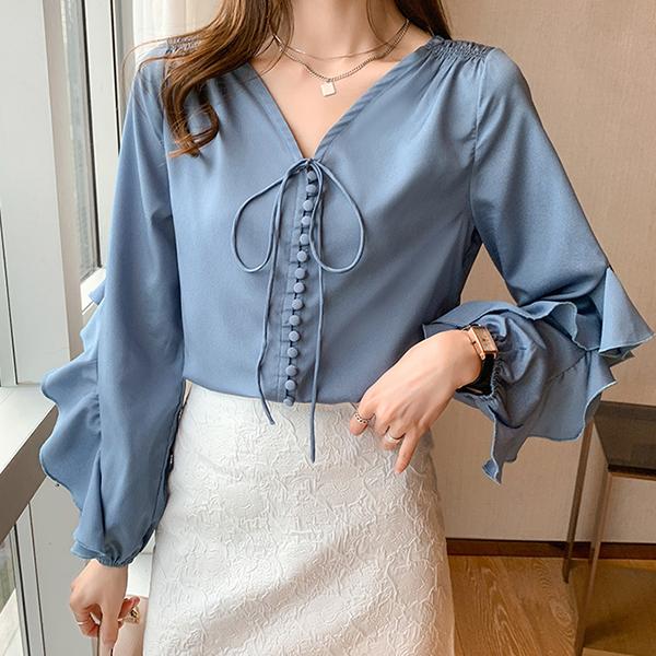 氣質典雅荷葉邊襯衫,,evaviva,8C-UA06737,氣質典雅荷葉邊襯衫,