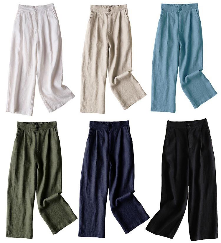 寬寬鬆鬆棉麻休閒九分褲