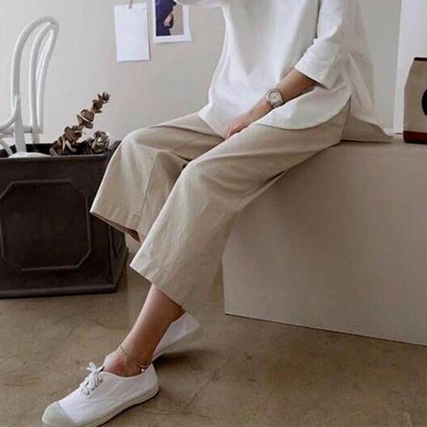 寬寬鬆鬆棉麻休閒九分褲,,evaviva,T7-UB06508,寬寬鬆鬆棉麻休閒九分褲,