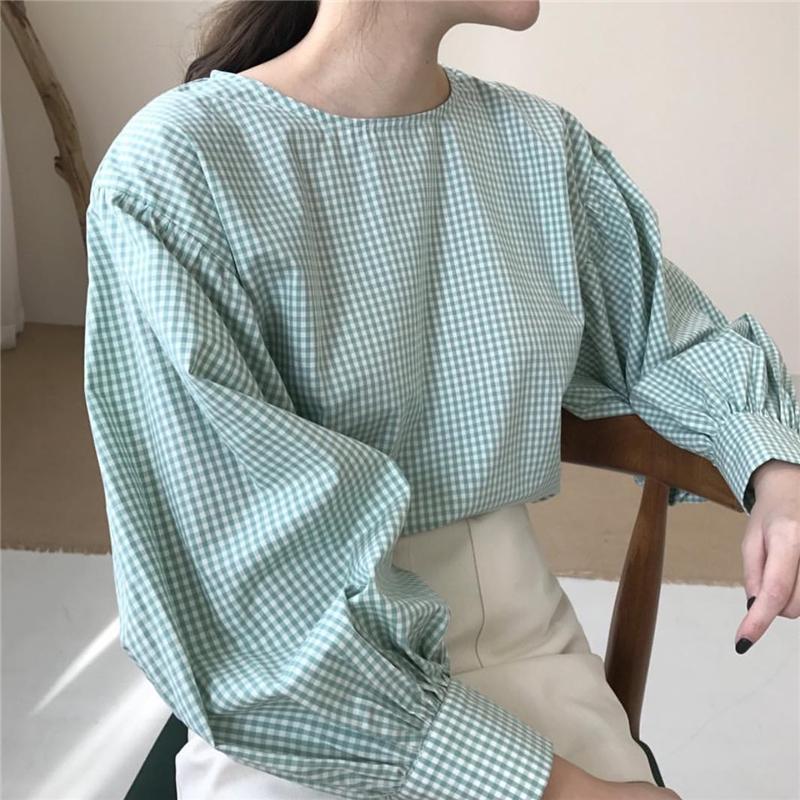 小文青感格紋燈籠袖上衣
