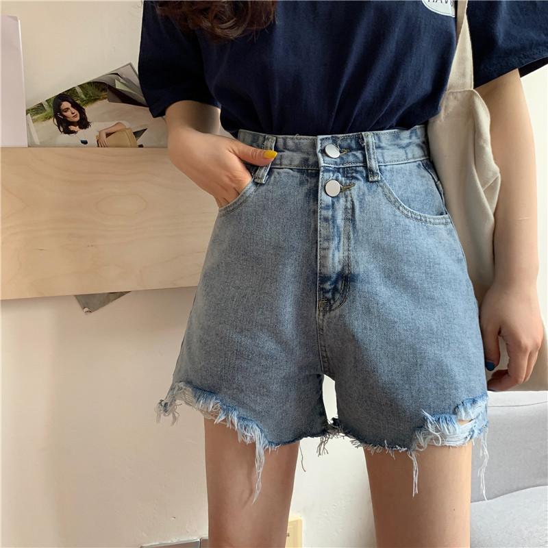 高腰基本款刷破牛仔短褲