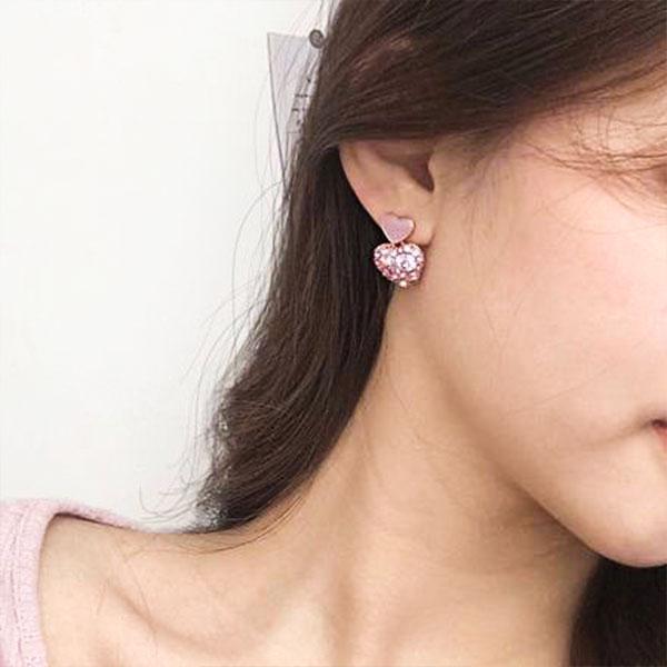 閃亮亮鑽石愛心耳夾