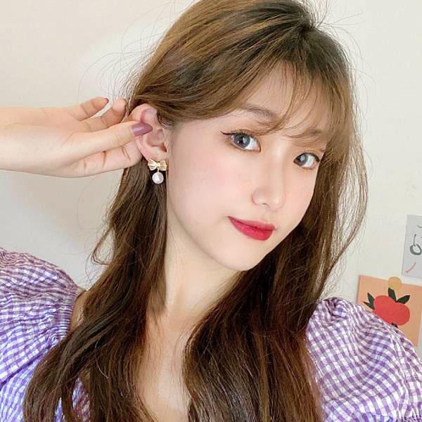 韓系甜美蝴蝶結珍珠耳環