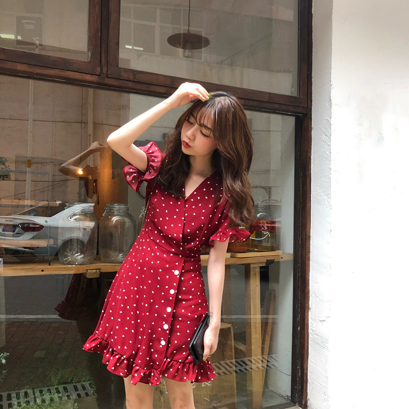 俏皮甜美小愛心短洋裝