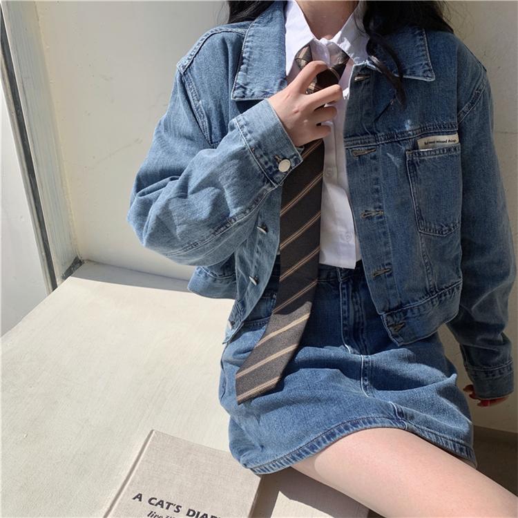 復古女孩短版牛仔外套