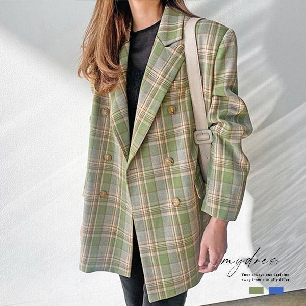 歐膩時裝格紋西裝外套