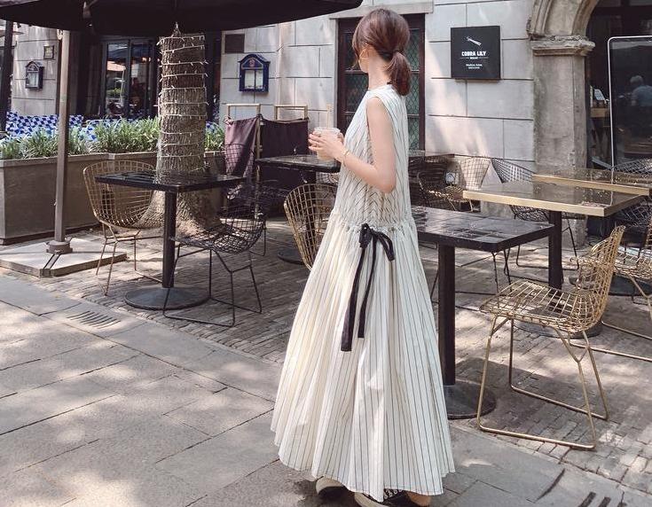 甜美名媛公主條紋設計洋裝