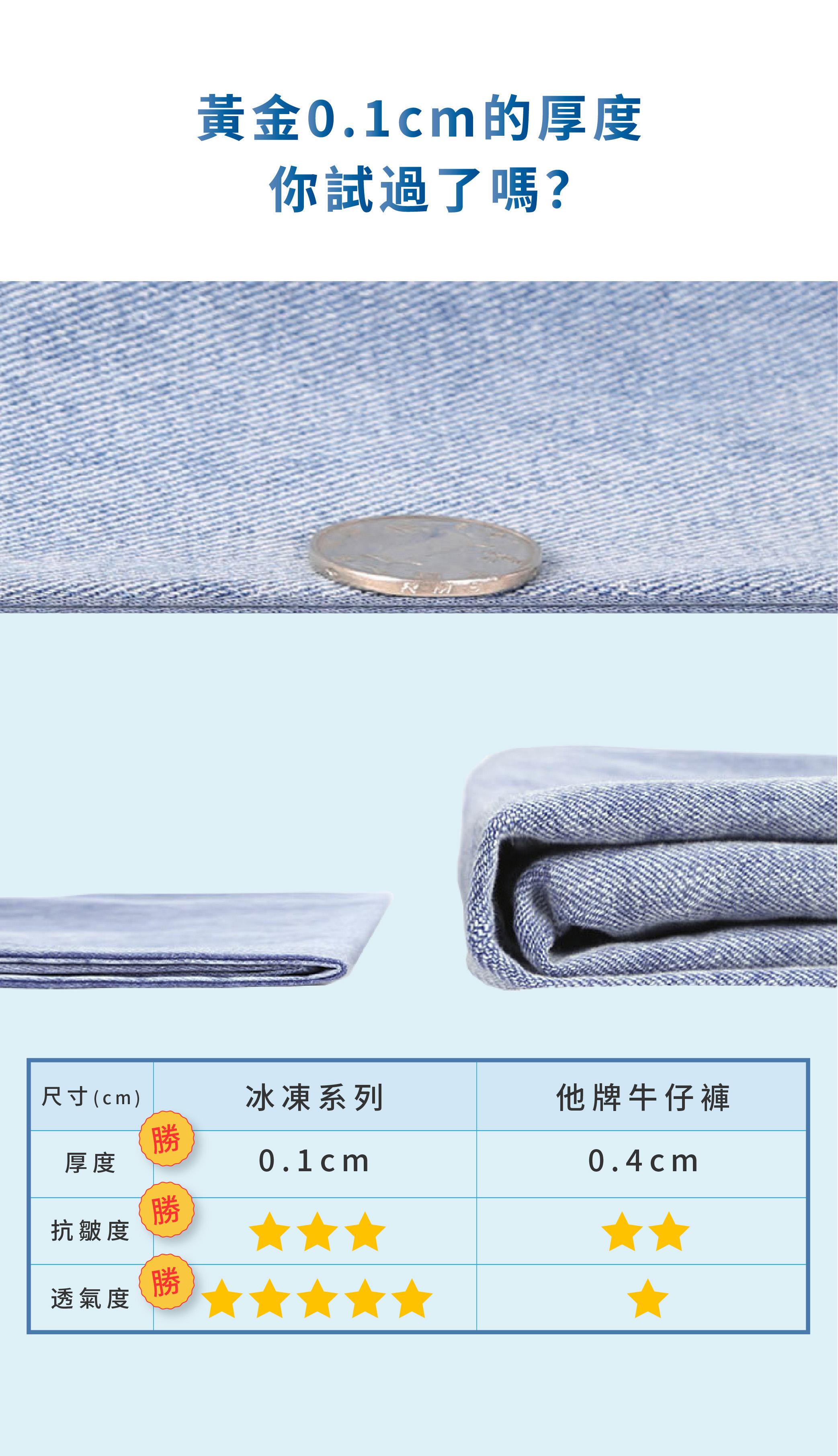 【冰凍系列】涼感黑科技高腰牛仔褲
