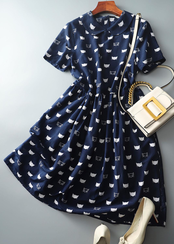 甜美小貓圖騰滿版設計洋裝
