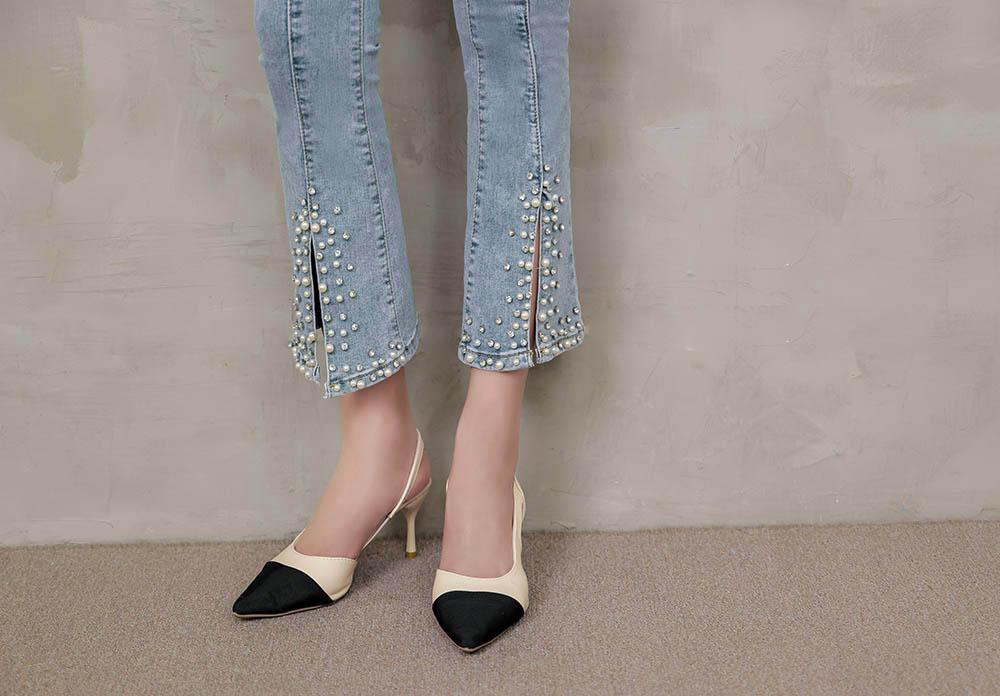 華麗重工珍珠修身牛仔褲
