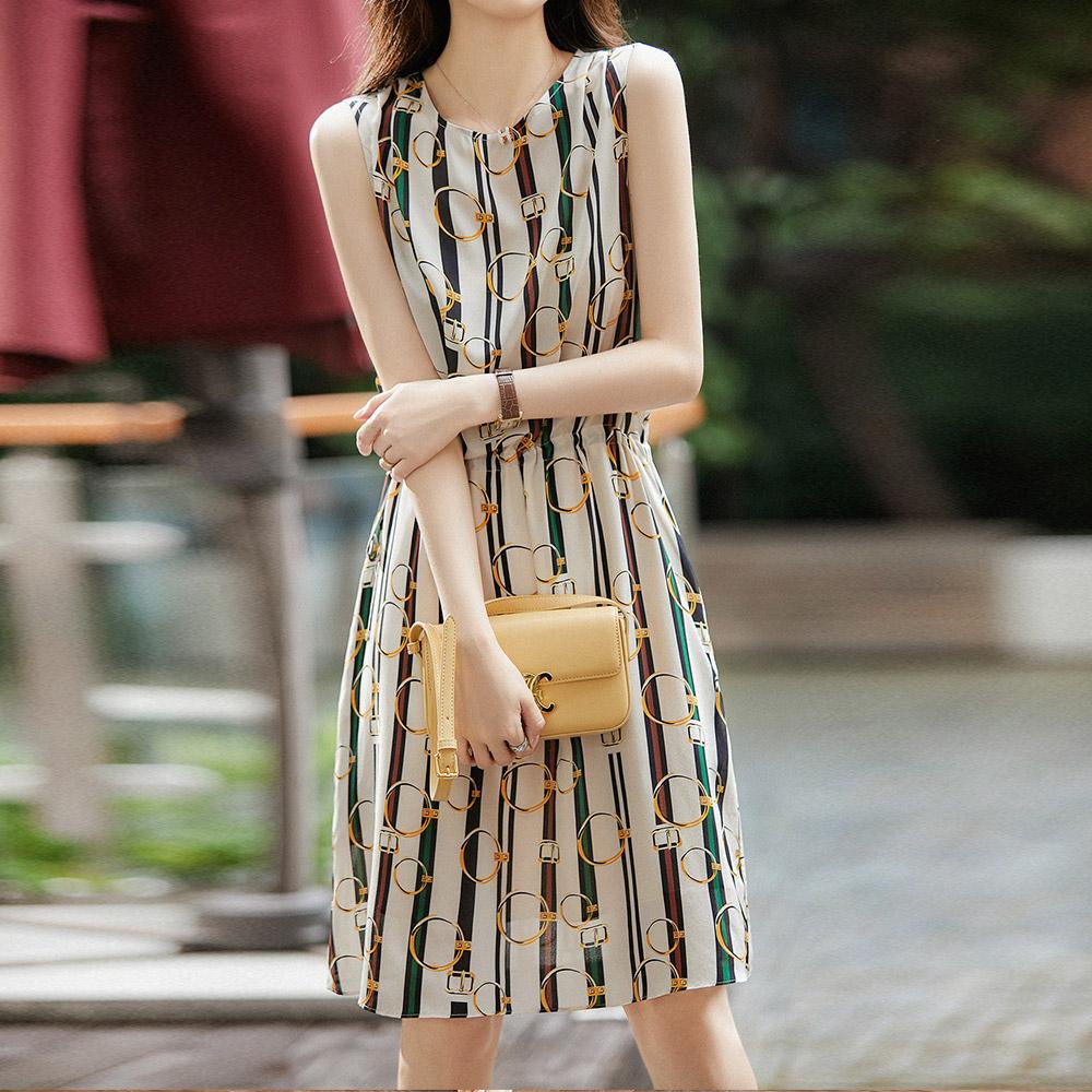 時尚名媛感撞色設計洋裝