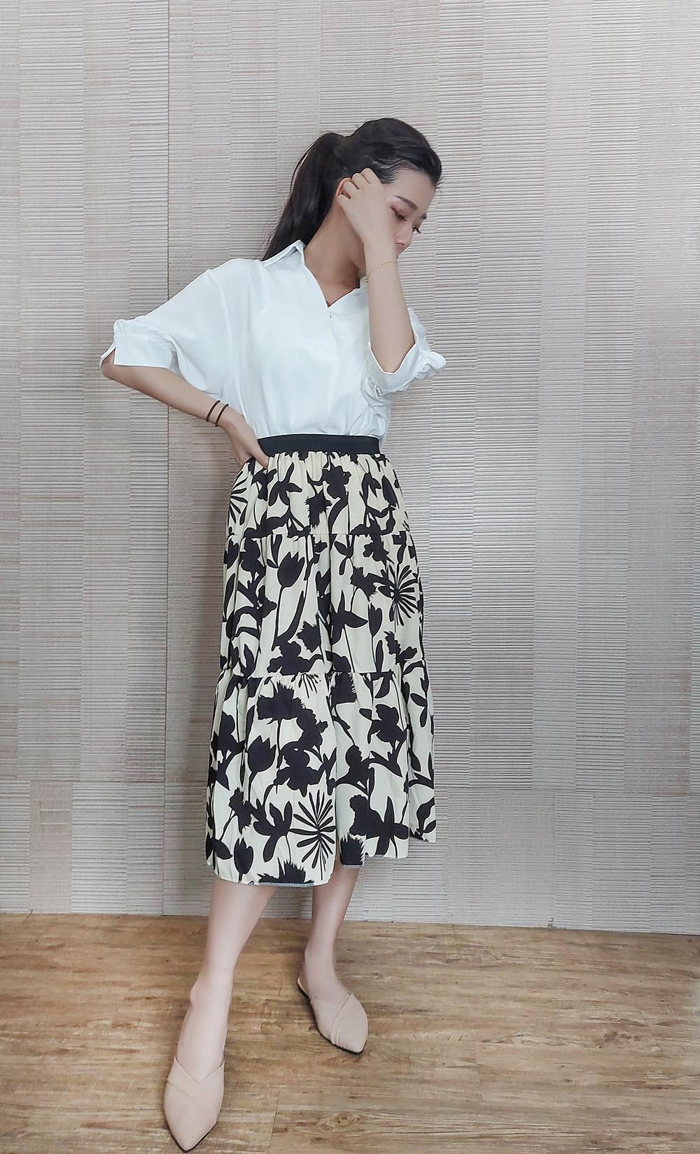 滿版印花設計感飄逸長裙