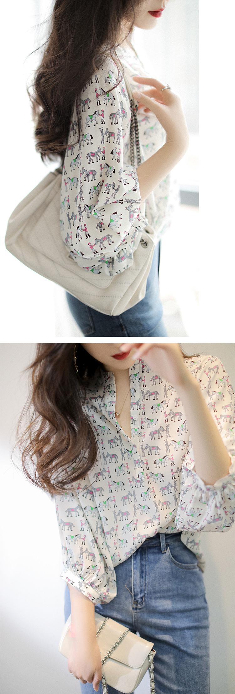 氣質甜美滿版印花襯衫
