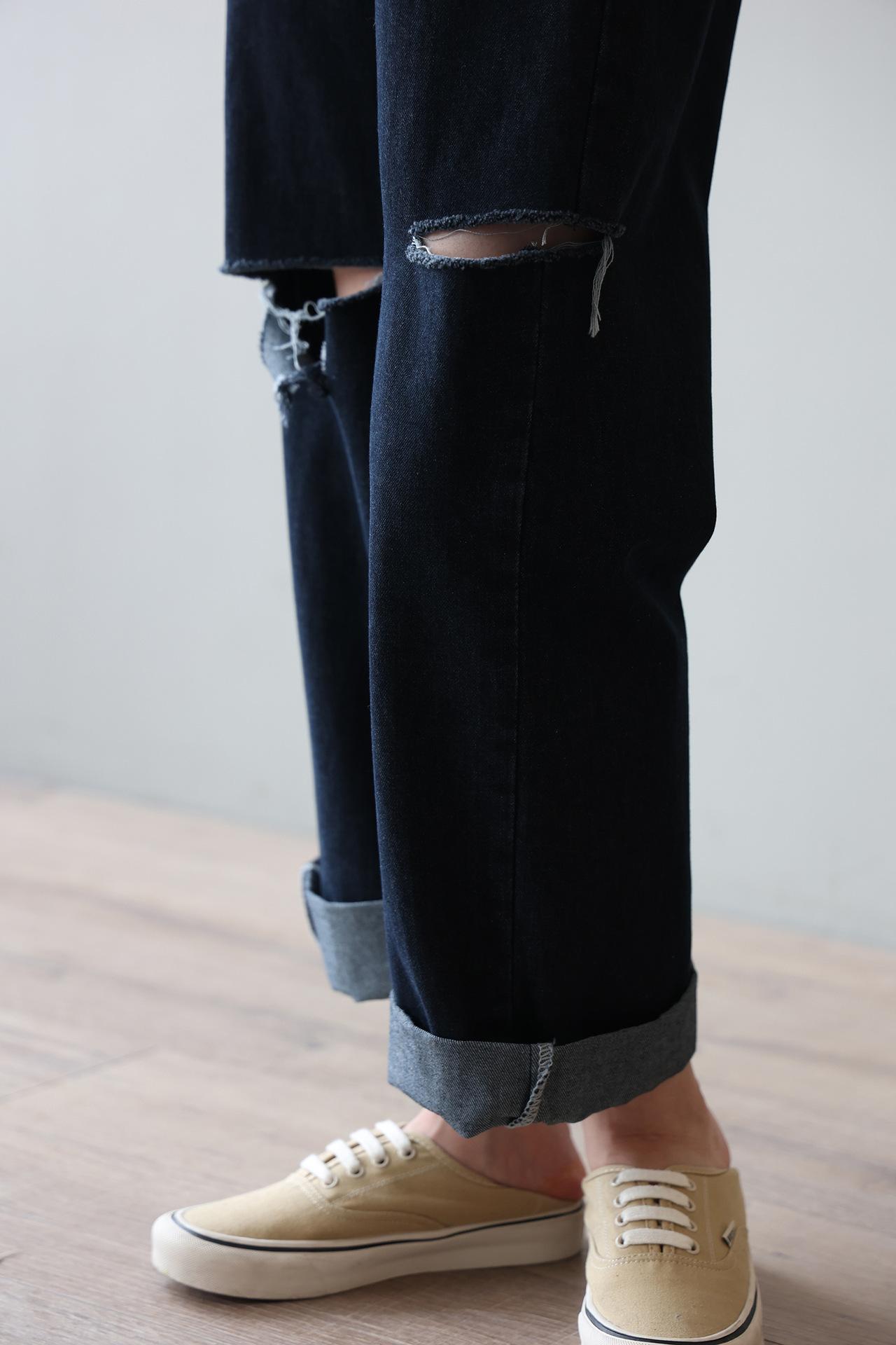 帥氣顯瘦街頭刷破設計寬褲