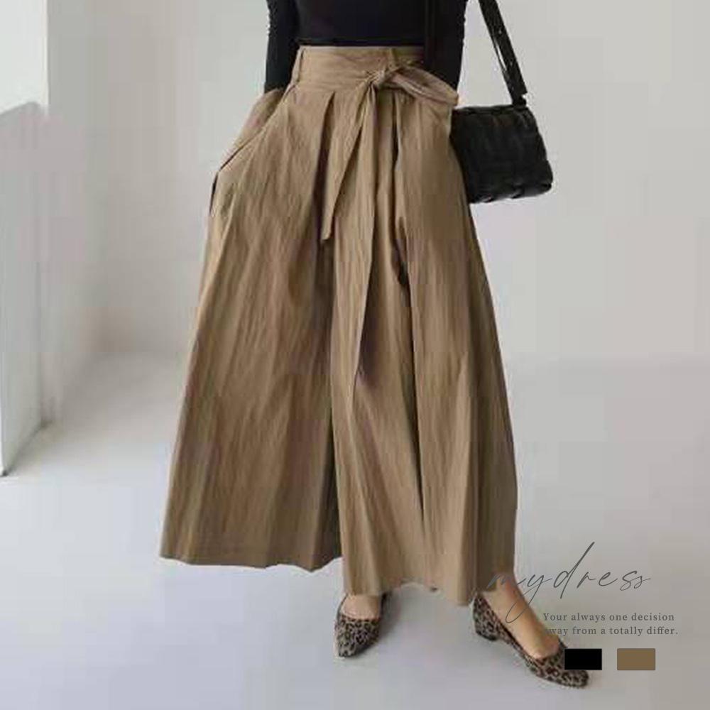 簡約氣質感歐膩綁帶設計寬褲