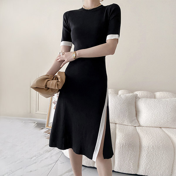 時尚俐落線條感設計洋裝