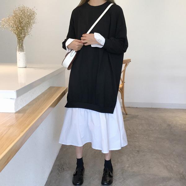 經典純色拼接長洋裝