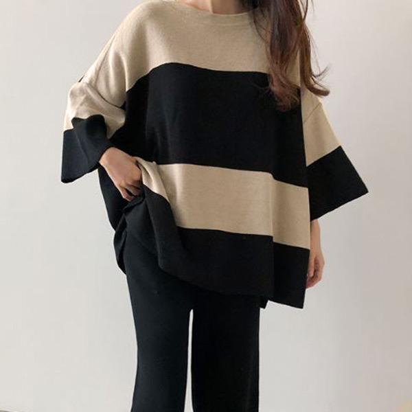 簡約雙色針織上衣,正韓,正韓商品,中大尺碼,雙色,上衣