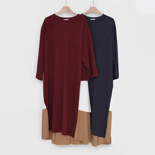素雅三色拼接洋裝,正韓,正韓商品,中大尺碼,素雅,拼接