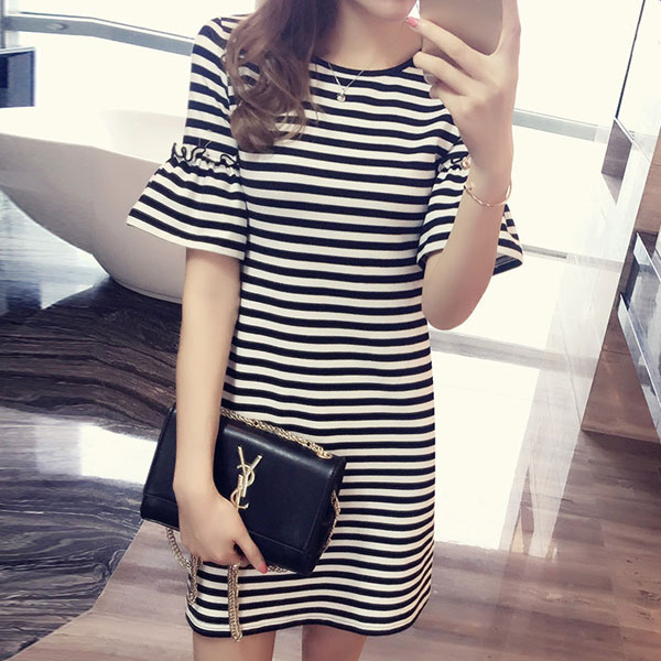 典雅條紋荷葉袖洋裝,JEANSWE,百搭,修身,寬鬆,顯瘦