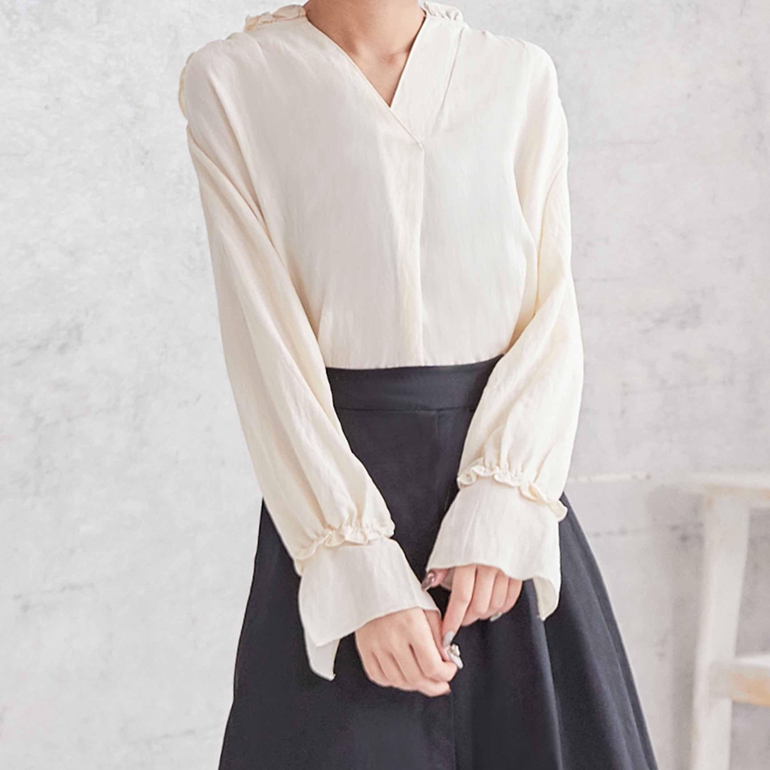 簡約典雅荷葉長袖襯衫,JEANSWE,百搭,修身,寬鬆,顯瘦