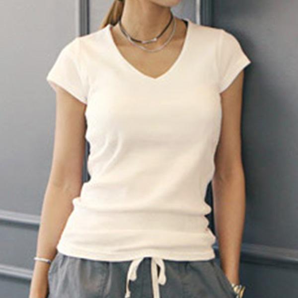 極簡休閒V領短袖T恤,JEANSWE,百搭,修身,寬鬆,顯瘦