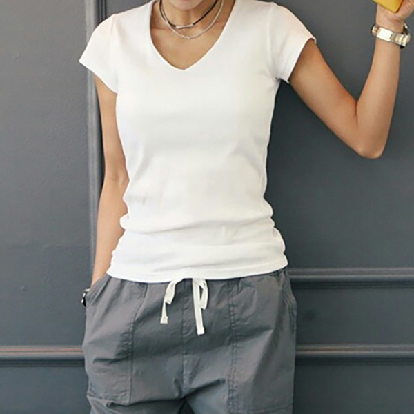 極簡休閒V領短袖T恤