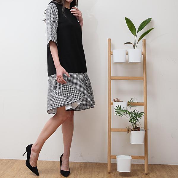 短袖格紋拼接洋裝