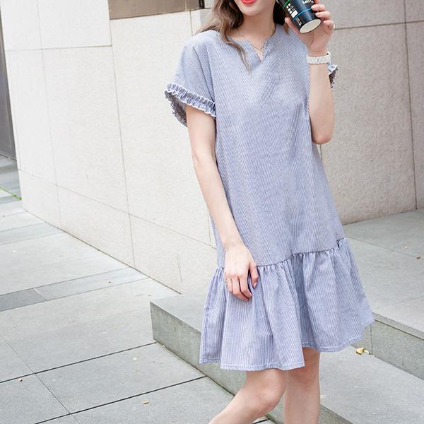 可愛甜心條紋洋裝