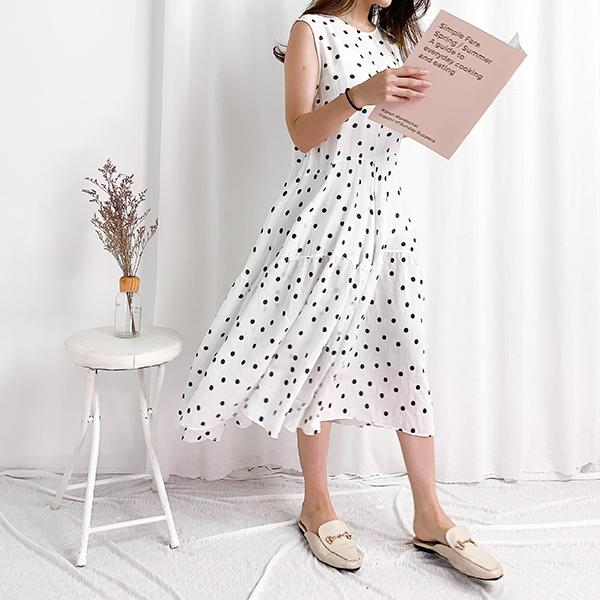 可愛甜心圓點點洋裝,JEANSWE,春夏,休閒,舒適,經典